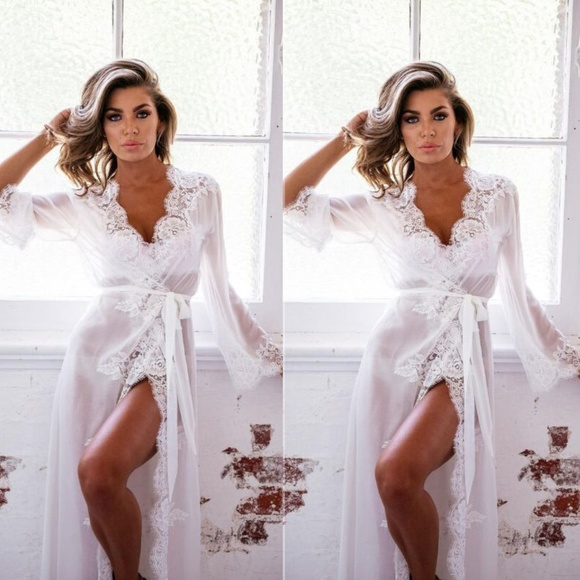93b755ff74 White Women s Sheer Lace Robe Kimono Nightgown